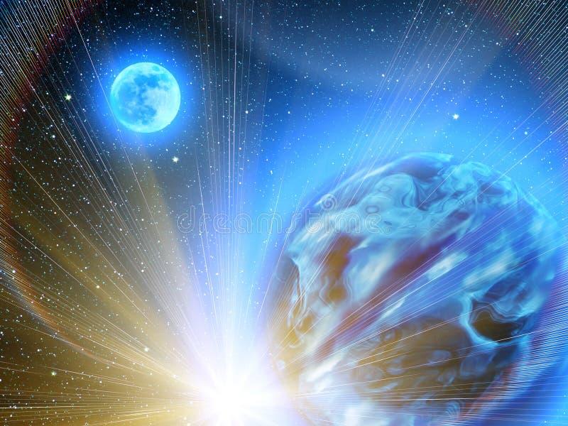 Sky stars planets earth royalty free illustration