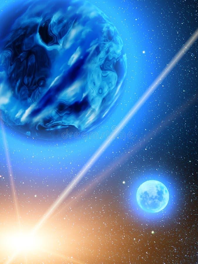 Sky stars planets earth meteor vector illustration