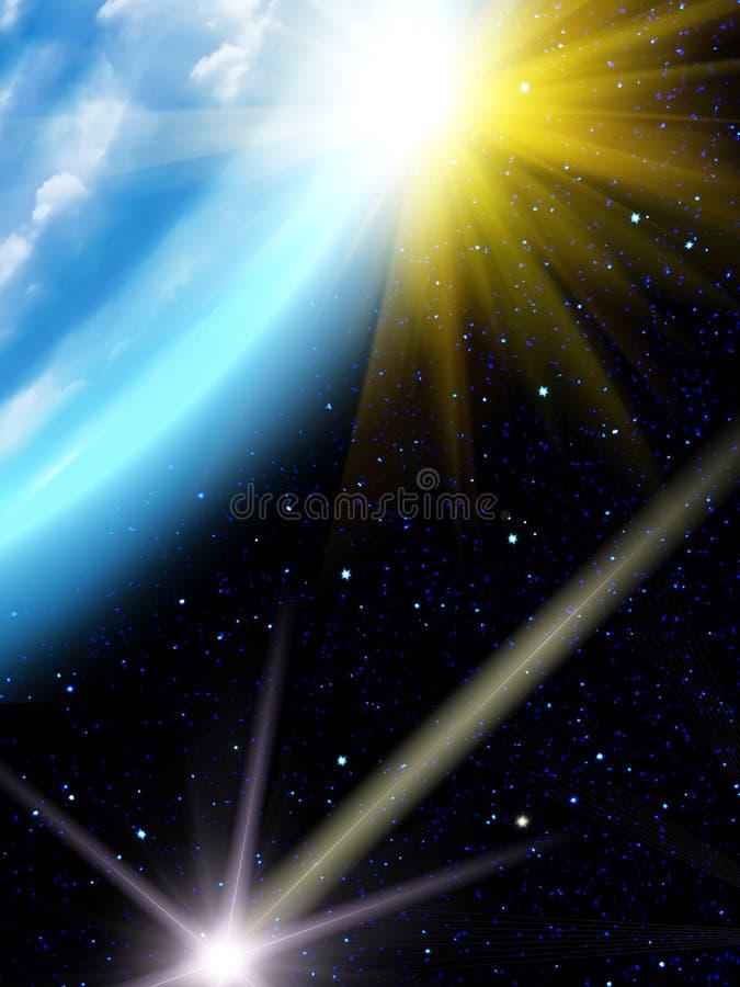 Sky stars sun Earth royalty free stock photography