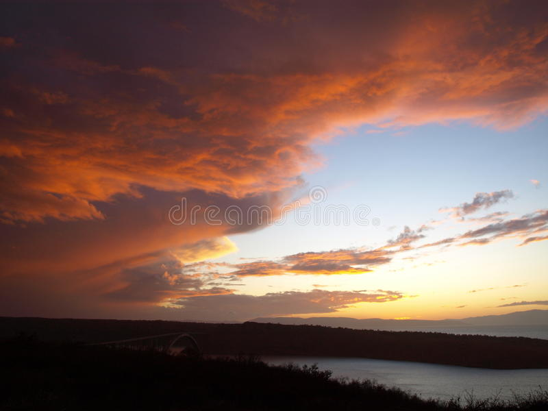 Sky after storm. Beutiful colors on sky after great and dark storm, large spectar of colors on sky stock photo