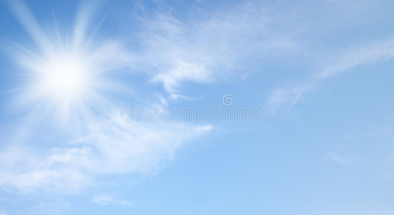 Sky and sun. Sky and shining sun photo stock photos
