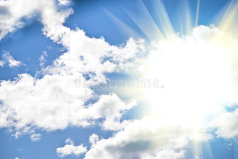 Sky with sun. Cloudy sky and sun ray royalty free stock photos