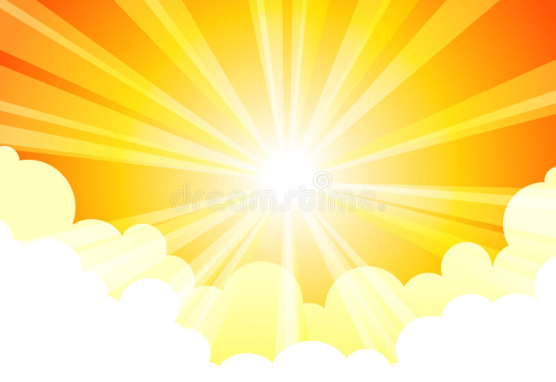 Sky Sun Cloud. Sky with the sun shining through the clouds vector illustration
