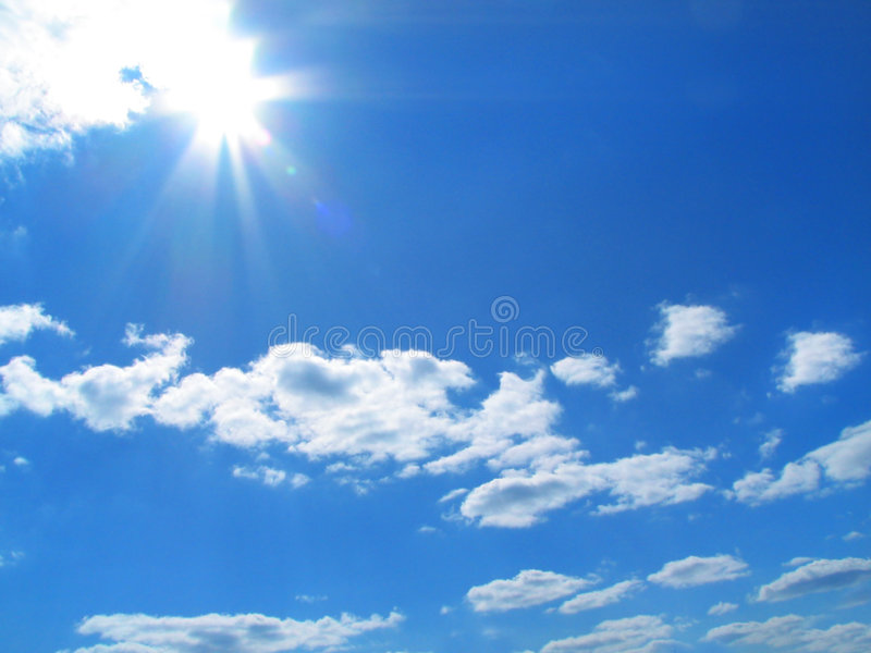 Sky-sun-clouds royalty free stock photography