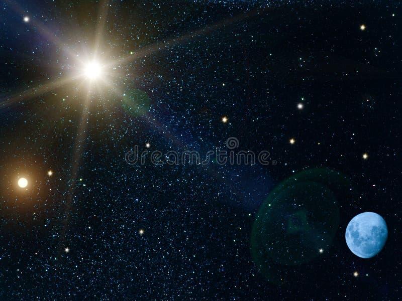 Sky sun stars moon royalty free stock photos