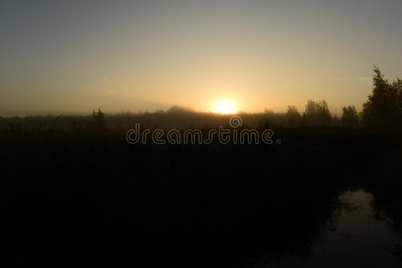 Sunrise morning bright autumn light of the rising sun over the treetops at dawn over a forest swamp. Sky in Sunrise morning bright autumn light of the rising sun royalty free stock photo