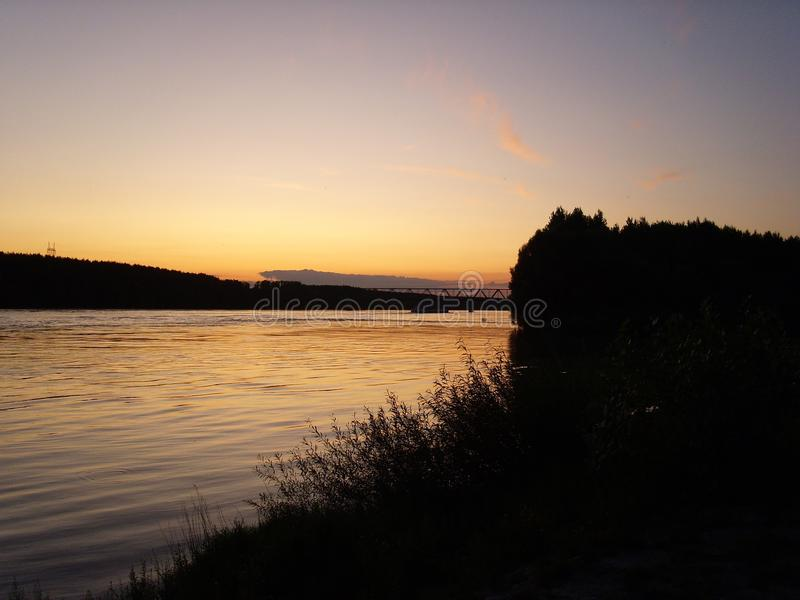 Sky, Sunset, Water, River stock photo