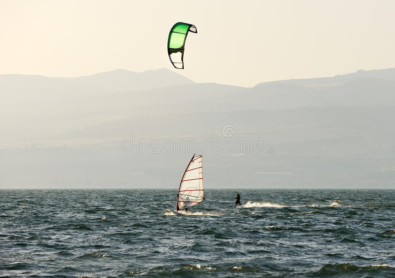 Download Sky-surfing And Surfing On Lake Kinneret Stock Image - Image of evening, outdoor: 14970743