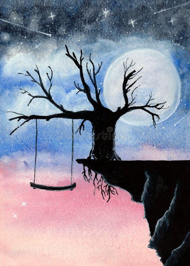 Purple moon wall art moon over water painting Night sky moon art watercolor moon painting print