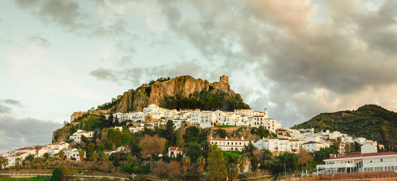 General view of Zahara de la Sierra, Cádiz royalty free stock photos