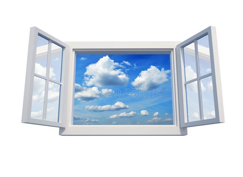 sky till fönstret royaltyfri illustrationer