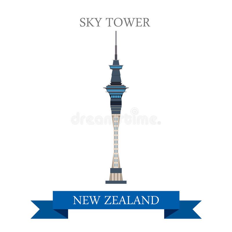 Sky Tower Auckland New Zealand Vector Flat Attraction ...