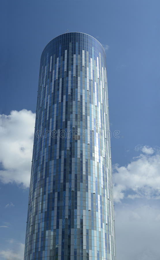 Sky Tower in Bucharest. BUCHAREST, ROMANIA – APRIL 22: Sky tower on April 22, 2015, at the date this is the tallest office building in Romania, which stock photography