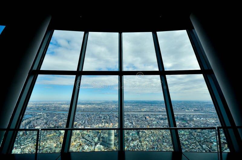 Tokyo sky tree japan. Look through the SKY 3 Tower City royalty free stock image
