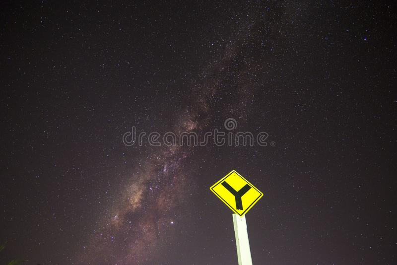 Sky and traffic signs at night royalty free stock photos