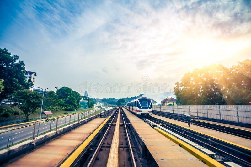 Sky train through the city center in Kuala Lumpur royalty free stock photo