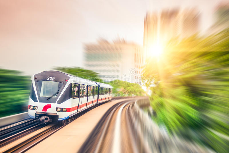 Sky train through the city center in Kuala Lumpur,motion blur royalty free stock images