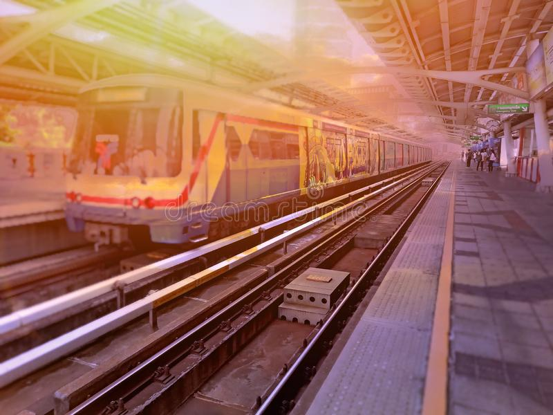 Sky train is coming at the sky train station. BTS  sky train station,Bangkok Thailand 23 Feb 2019:The train arriving station BTSBangkok mass transit systemis stock photos