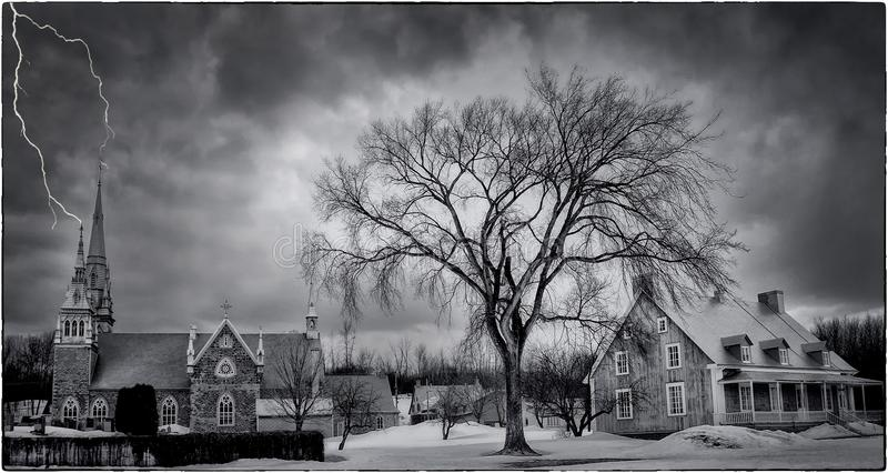 Sky, Tree, Cloud, Black And White stock photos