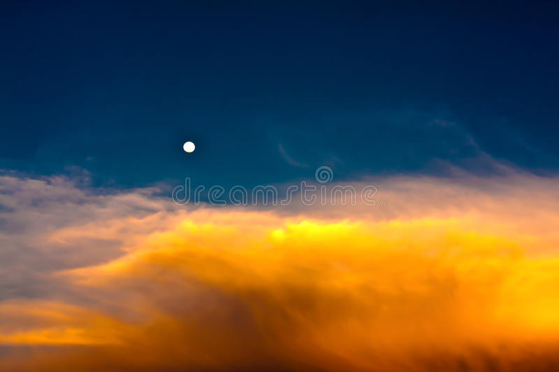 Download Sky In Twilight Time With Moon Royalty Free Stock Image - Image: 23098076