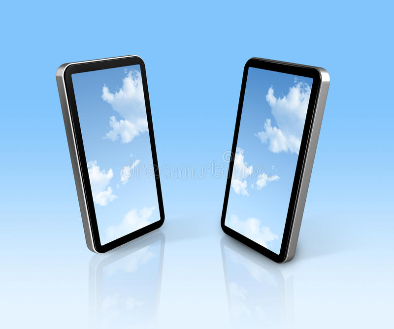 Sky on two mobile phones royalty free illustration