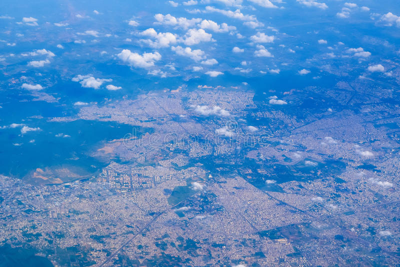 Sky view of Indian city. From airplane royalty free stock photography