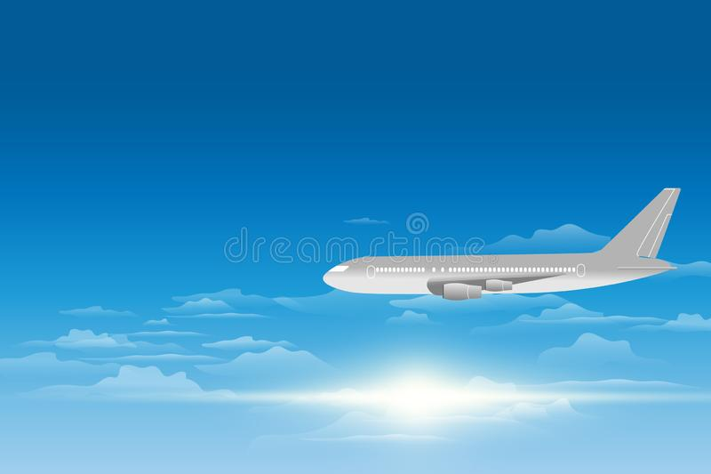 Sky view of a plane . Passenger airplanes on the sky view background. vector illustration stock illustration