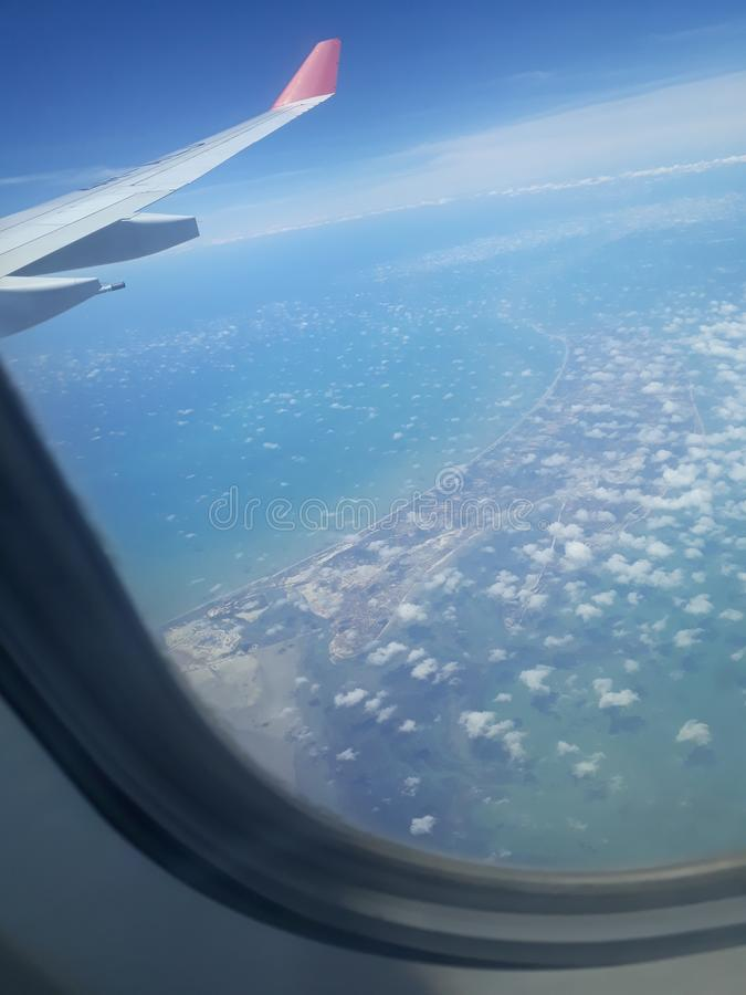 Sky view from plane window stock image