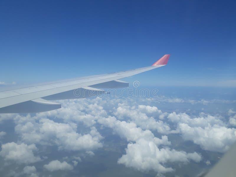 Sky view from plane window stock photo