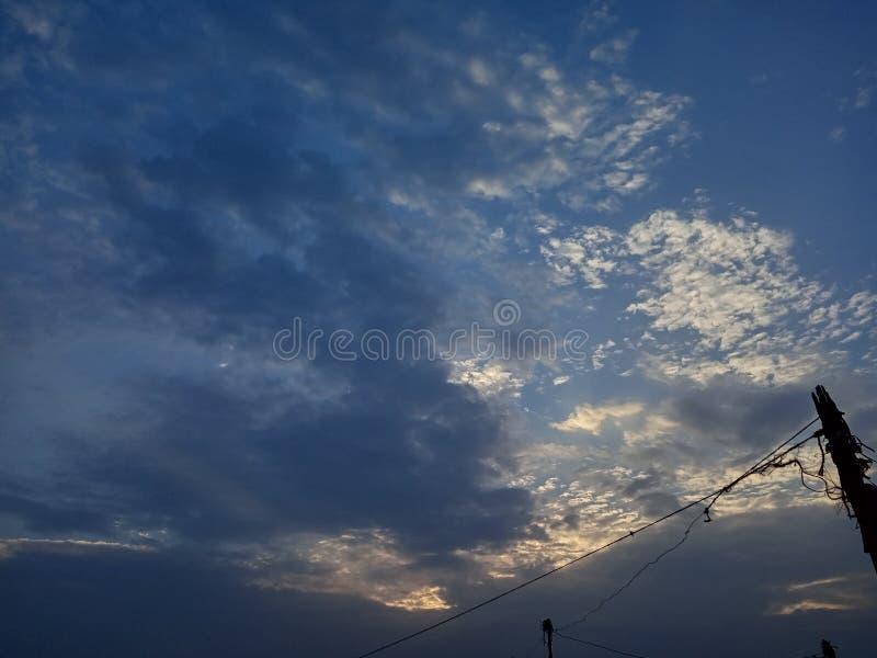 Sky view in summer evening sunset stock photos
