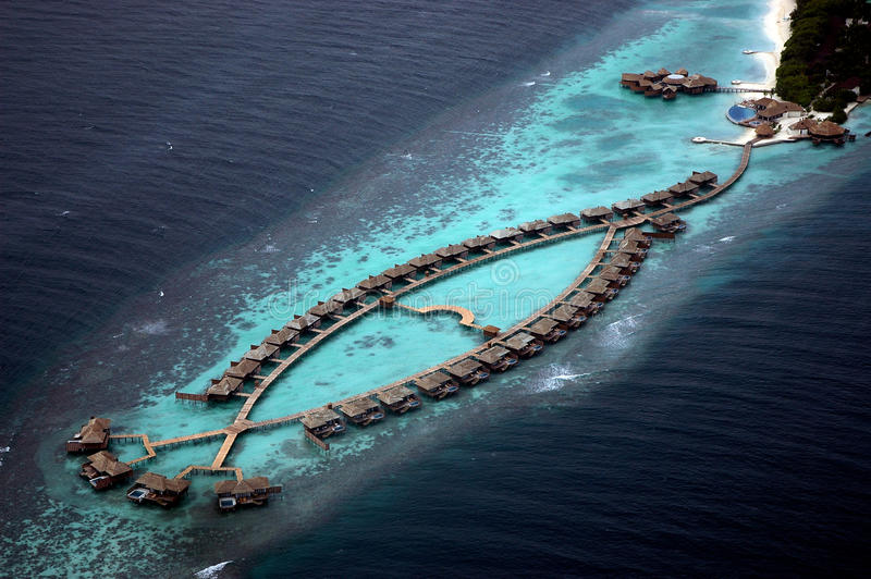 Sky view of water bungalows royalty free stock photos