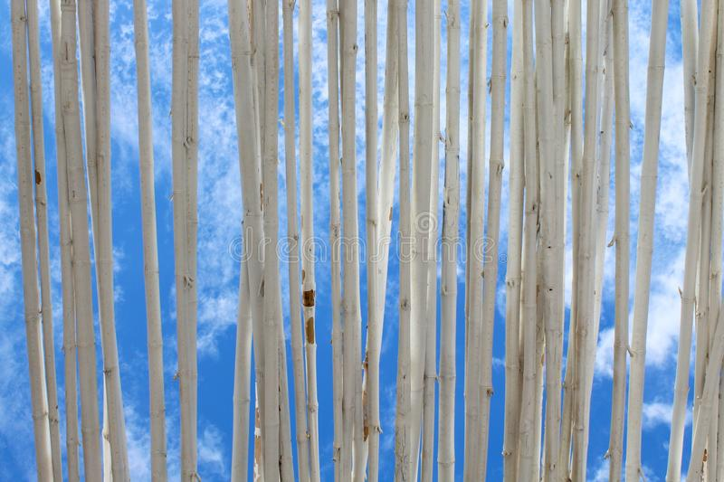 Sky view through wooden shades. stock photography
