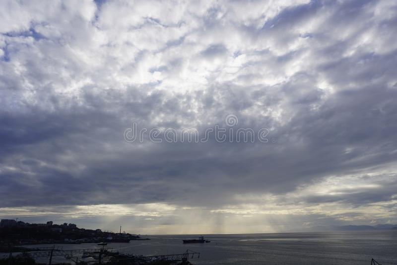 The Sky Of Vladivostok. Summer 2019 stock photo