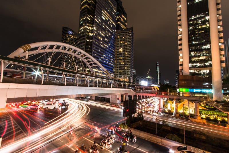 Sky walk BTS Sky walk BTS `Chong Nonsi` Bangkok Thailand. stock photo