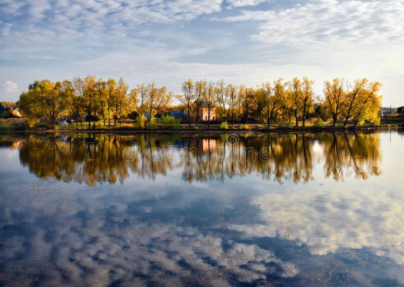 Sky and water. Full reflection. Beauty of Russia royalty free stock image