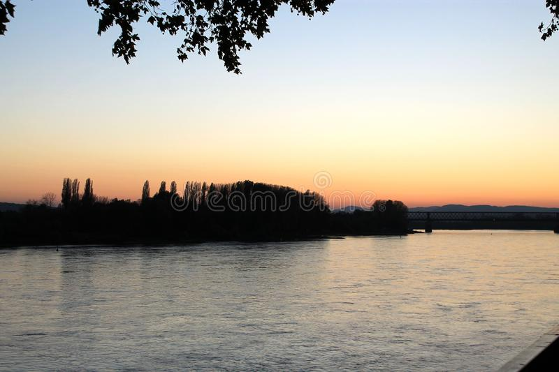 Sky, Water, Sunset, River royalty free stock photo