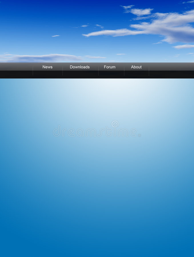 Sky web template. Blue template with sky for your web page