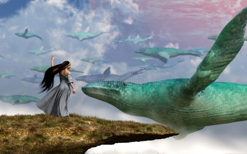 Sky Whales royalty free illustration