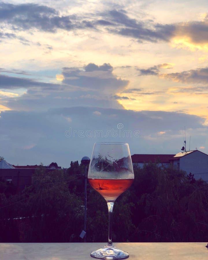 Sky, Wine Glass, Reflection, Stemware royalty free stock photo