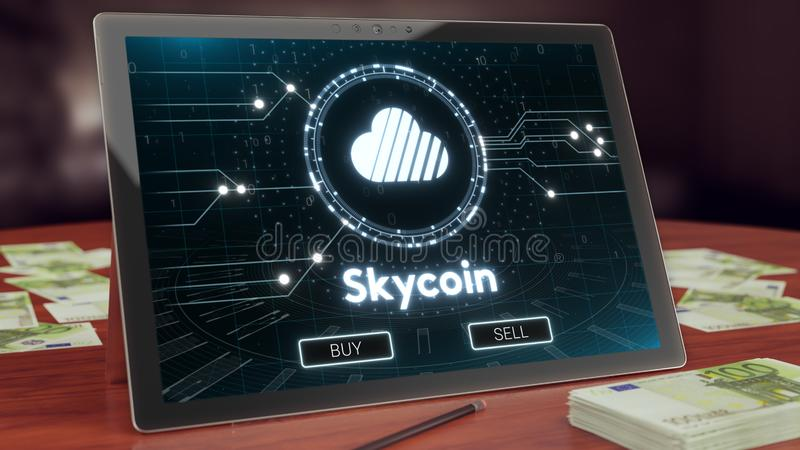 Skycoin cryptocurrency logo on the pc tablet display. 3D illustration stock images