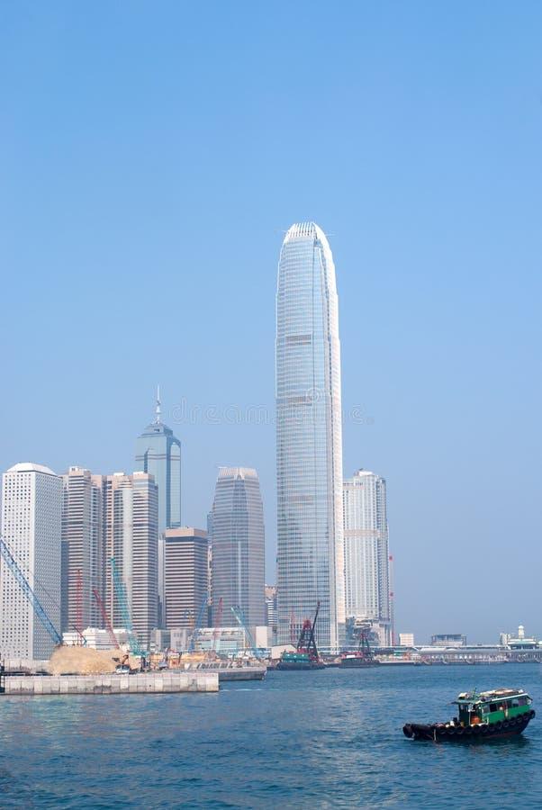 Skycraper in Hong Kong. China viewed fro the harbor royalty free stock photos