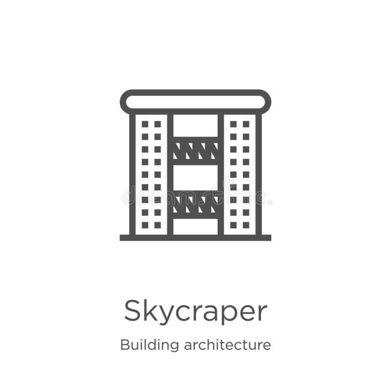skycraper icon vector from building architecture collection. Thin line skycraper outline icon vector illustration. Outline, thin royalty free illustration