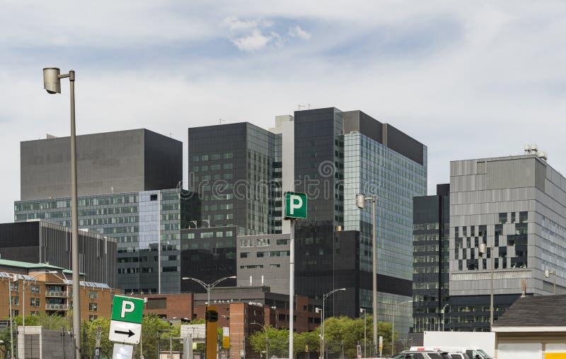 Skycrapers a Montreal del centro, in Quebec, il Canada fotografia stock libera da diritti