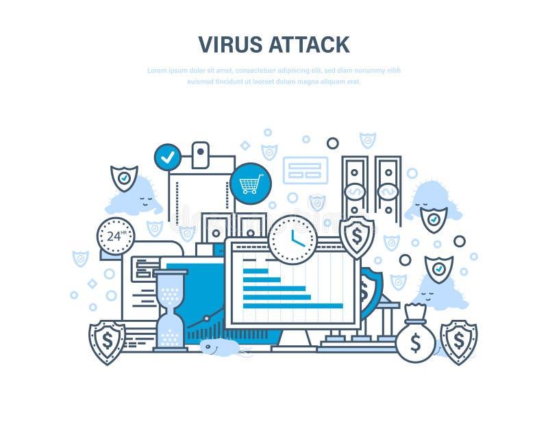 Skydd av data och betalningar, finansiell säkerhet, informationsteknik, kommunikationer stock illustrationer