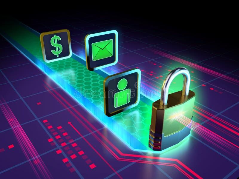 Skydd av personuppgifter stock illustrationer