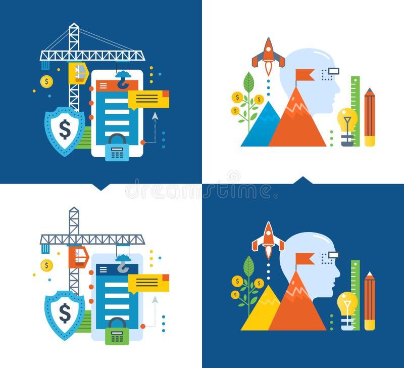 Skydd datasäkerhet, utveckling, monetization av applikationer, idérik process, investering royaltyfri illustrationer