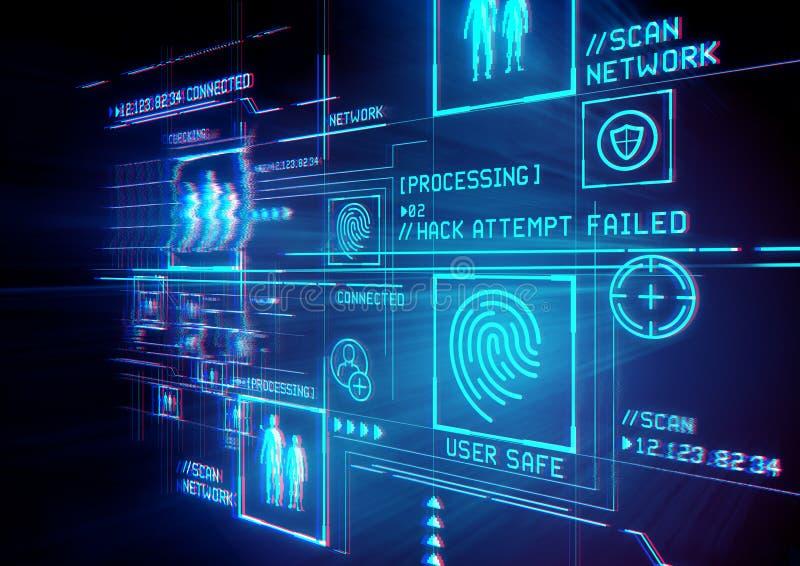 Skydd för Digital säkerhetslegitimation vektor illustrationer