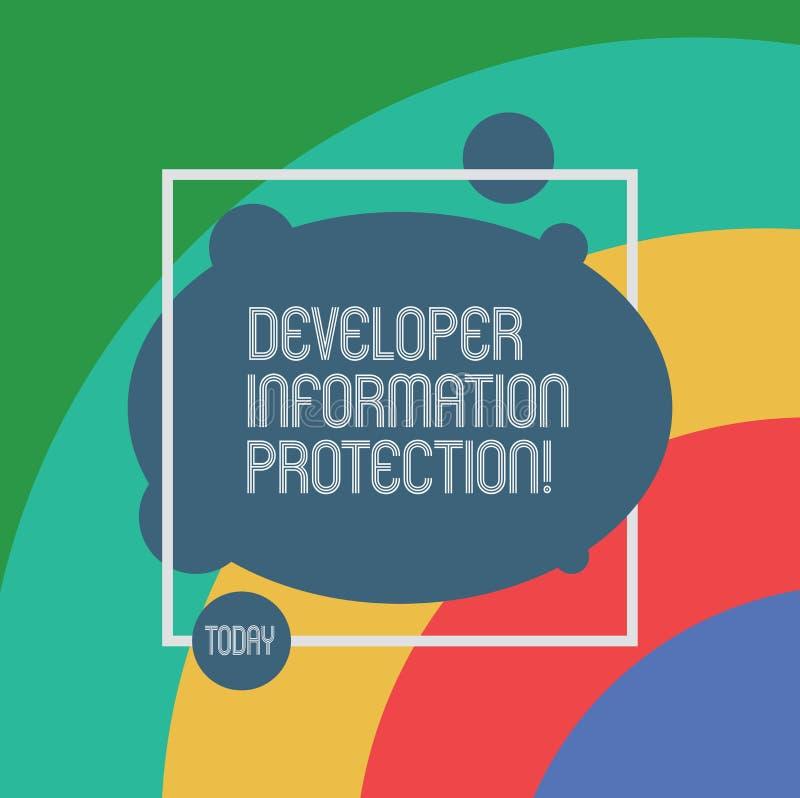 Skydd för information om handskrifttextbärare Begreppsbetydelsen skyddar viktig information från förlust stock illustrationer