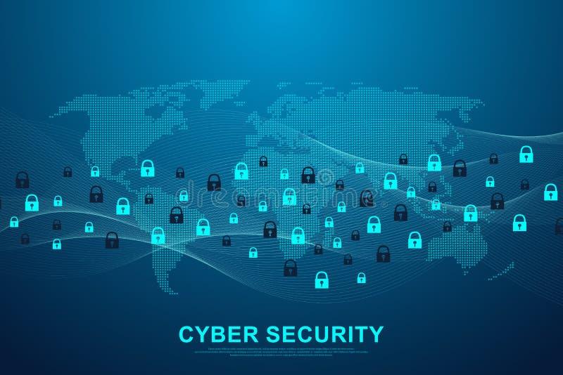 Skydd för nätverk för begrepp eller för information om Cybersäkerhet Begrepp för dataskydd Framtida service för cyberteknologiren royaltyfri illustrationer