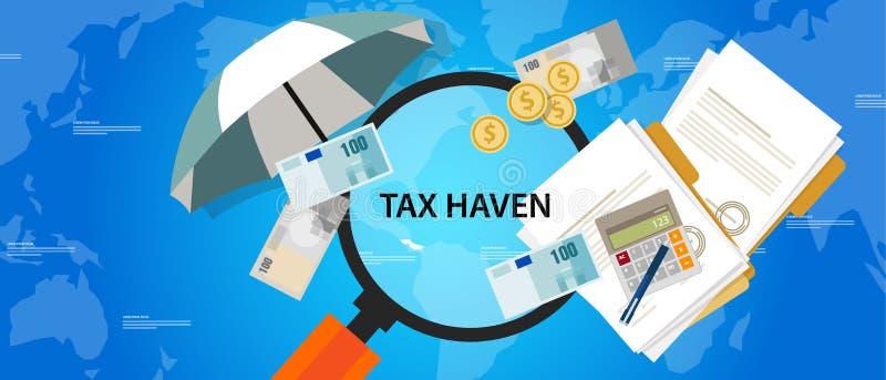 Skydd för pengar för illustration för affär för skatteparadislandsfinans stock illustrationer